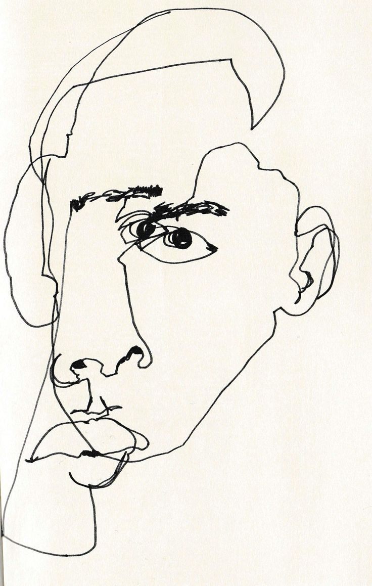 Man S Face Line Drawing : Speed draw